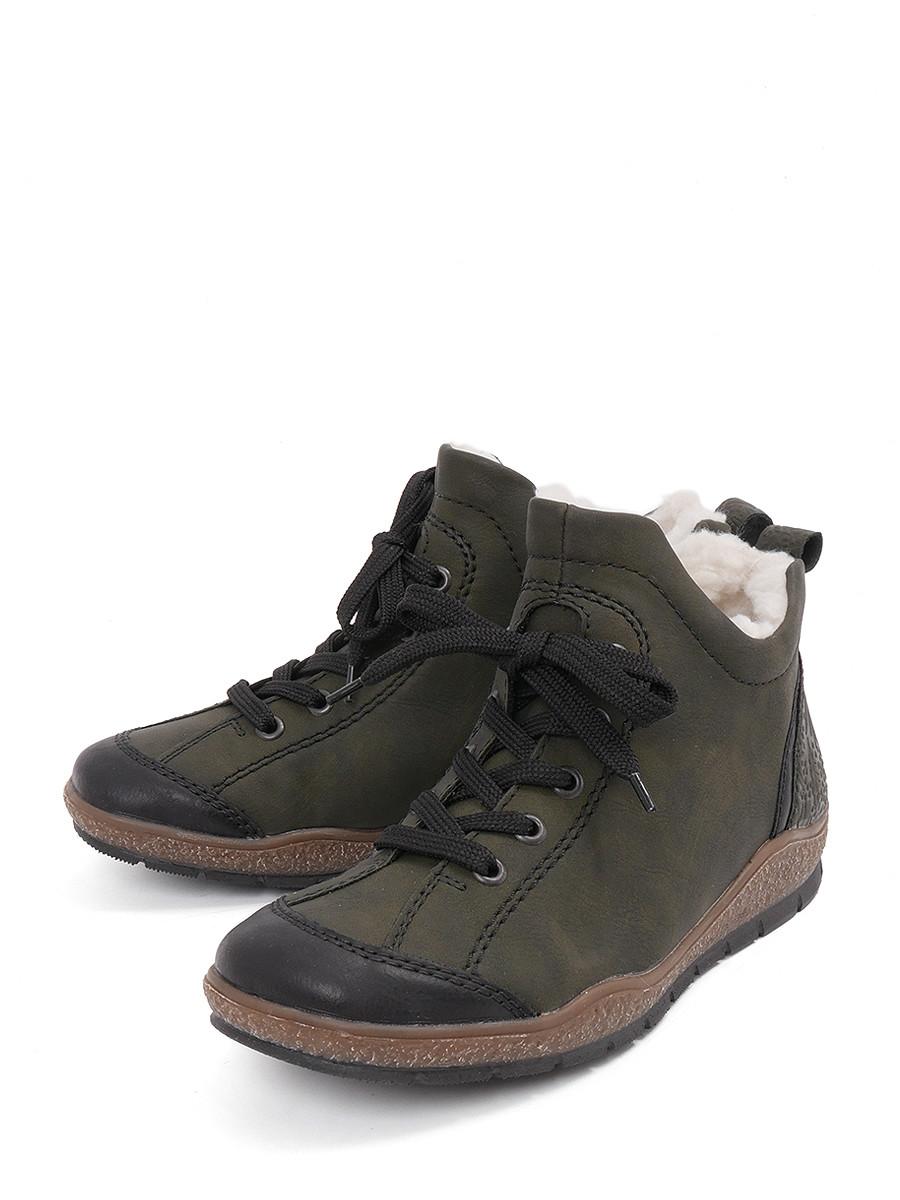 Купить Ботинки Rieker, зеленый, искусственная кожа, зима