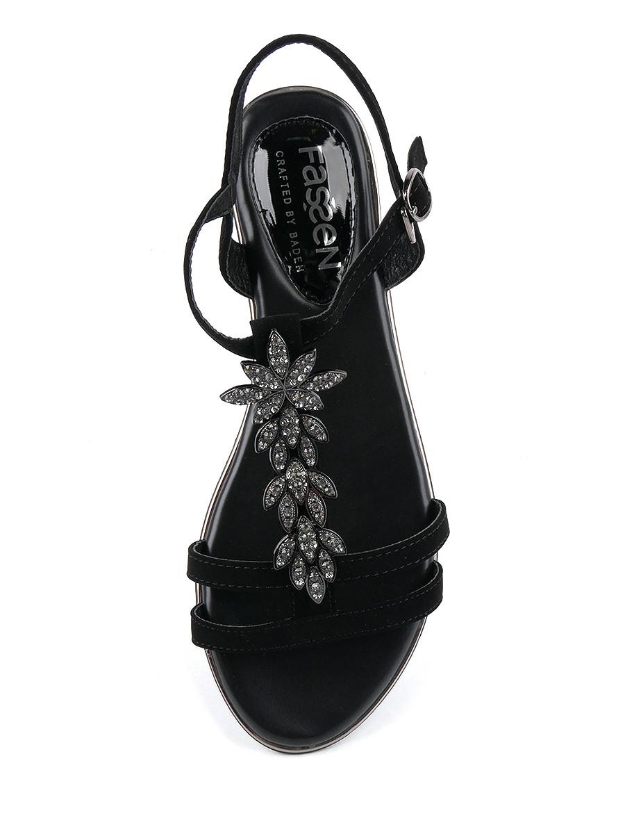 Фото 5 - Женские босоножки Baden черного цвета
